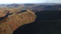 Aerial view of Chruch Stretton and the Long Mynd valley. Stock Footage