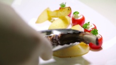 Lamb Chop Dish And Potatoes. Meat Ribs Stock Footage