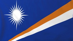 Flag of Marshall Islands waving in the wind, seemless loop animation Stock Footage