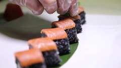 Preparing Sushi And Rolls Stock Footage