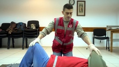 Rates of first aid from the Red Cross - chest compressions Stock Footage