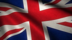 Flag of the United Kingdom flying in the wind with high detailed fabric tex.. Stock Footage