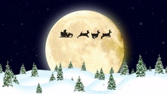 Christmas Card, Santa Claus on a Sleigh Pulled by Reindeer Stock Footage