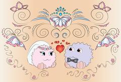 Bride and groom wedding card ornaments Stock Illustration