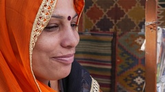 Portrait of Indian Woman in Pushkar, India Stock Footage