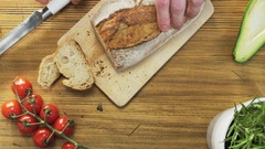 Slicing Loaves of Bread Stock Footage