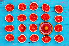 Freshly squeezed ruby grapefruit halves Stock Photos