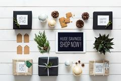 Elegant nordic retro christmas, wrapping station, desk view from above Stock Photos