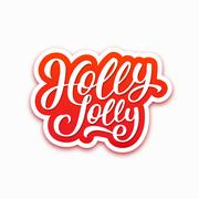 Holly Jolly text on label. Christmas greeting card Stock Illustration