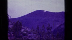 1973: hill with snow; old dry weathered log on a ridge with mountains and forest Stock Footage