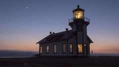 Time Lapse of Sunset and the Fog Rolling In at Point Cabrillo Lighthouse, CA Stock Footage