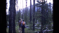 1973: people going deep in woods nature view SCAPEGOAT WILDERNESS MONTANA Stock Footage