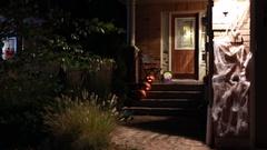 Halloween Decorations on House, Pumpkins, Jack o'Lantern Stock Footage