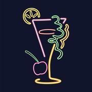 Neon cocktail sign Stock Illustration