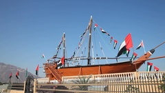 Historic Dhow in Khorfakkan, UAE Stock Footage