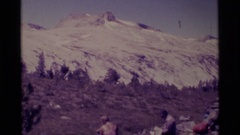 1975: the group of people in a encampment MINARET WILDERNESS CALIFORNIA Stock Footage