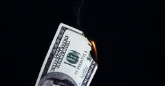 Close-up of euro dollar burning Stock Footage