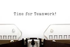 Time For Teamwork Typewriter Stock Illustration