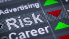 """""""Risk"""" on the screen. Down. Looping. Stock Footage"""