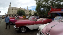 Parking of the Classic Convertible Cars in Havana, Cuba Stock Footage