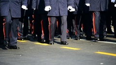 Detail with troops march during a military parade Stock Footage
