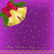 Christmas Greeting card with jingle bells Stock Illustration