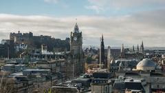 Edinburgh Cityscape from Calton Hill Stock Footage