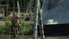 Adventure race scene slow motion water Stock Footage