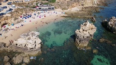 Video shooting from the sky, the beach Arifes and sea. Albufeira Stock Footage