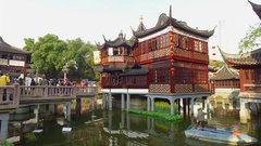 Shanghai, China - Pavilions and teahouses in the Chenghuang Miao area Stock Footage