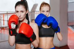 Two attractive female models posing with boxing gloves Stock Photos