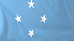 Flag of Micronesia waving in the wind, seemless loop animation Stock Footage
