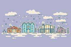 Winter Cityscape. Vector vintage Christmas card Stock Illustration