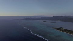 Aerial scene of Mauritius with mountain ranges and blue ocean Stock Footage