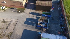 Aerial view of recycling skips. Stock Footage