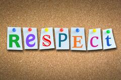 """Close-up of word """"respect"""" on cork billboard Stock Photos"""