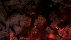 Fireplace wood flames ash close up macro Stock Footage