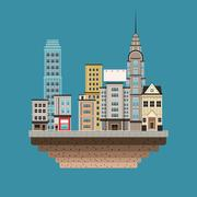 Town buildings shops first floor blue background Stock Illustration