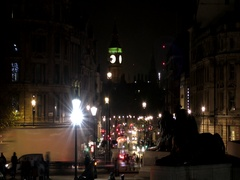 Time lapse. Night London. The road leading to the Tower of Big Ben. Stock Footage