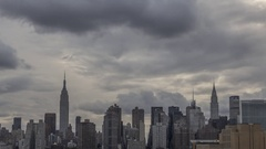 Time Lapse of Sunset Over Midtown Manhattan w Empire State & Chrysler Building Stock Footage