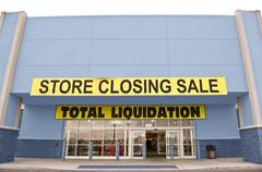 Blue Store Front Closing Banners Stock Photos