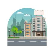Building city with large blank urban billboard silhouette landscape Stock Illustration