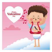 Happy valentine day cupid sing music harp note music Stock Illustration