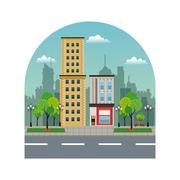 Town buildings shops silhouette landscape city Stock Illustration