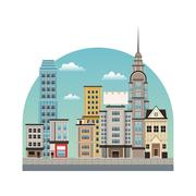 City downtown buildings style Stock Illustration