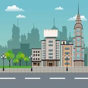 Urban building street lamp post Stock Illustration