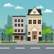 House building residential urban streetscape Stock Illustration