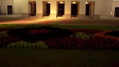 Latvian National Opera at night, Riga Stock Footage