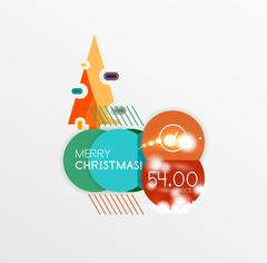 Round Christmas sale stickers with winter holiday elements Stock Illustration