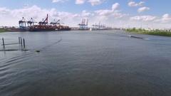 Hamburg Elbe River Aerial View Stock Footage